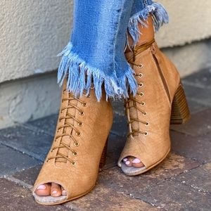 Honey Snake Print Lace Up Peep Toe Ankle Booties
